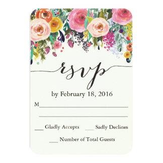 Cartão floral da aguarela RSVP do jardim