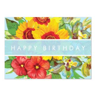 Cartão floral do feliz aniversario convite 12.7 x 17.78cm