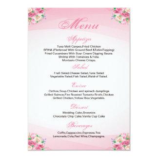 Cartão floral do menu do casamento convite 12.7 x 17.78cm