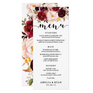 Cartão floral do menu do casamento de Borgonha