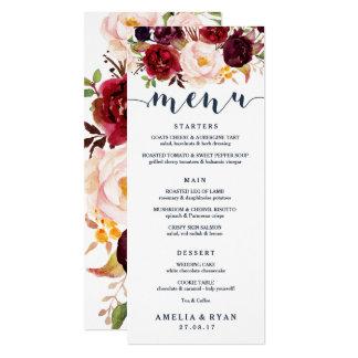Cartão floral do menu do casamento de Borgonha do