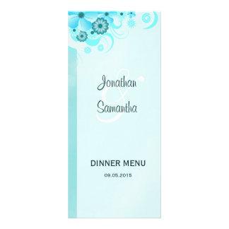 Cartão floral do menu do comensal de casamento da 10.16 x 22.86cm panfleto