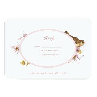 Cartão floral do pássaro cor-de-rosa romântico convite 8.89 x 12.7cm