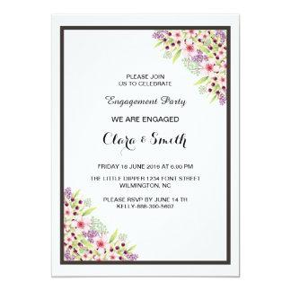 Cartão floral romântico do convite do noivado