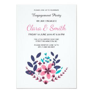 Cartão floral romântico do noivado convite 12.7 x 17.78cm