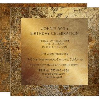 Cartão Floral sujo dourado da festa de aniversário da