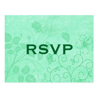 Cartão floral verde do redemoinho RSVP