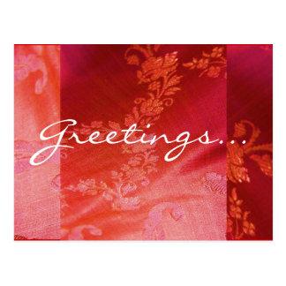 Cartão floral vermelho de I - customizável Cartão Postal