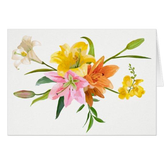 Cartão Flores do lírio da aguarela - amor, pensando de