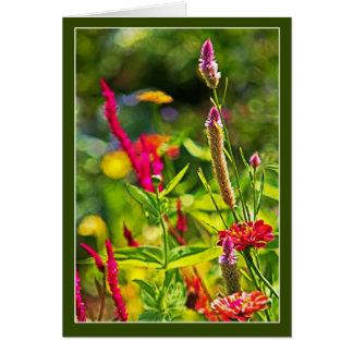 Cartão Flores e flores em botão misturadas