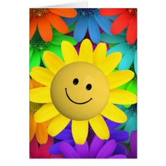Cartão Flores felizes bonitos da cara