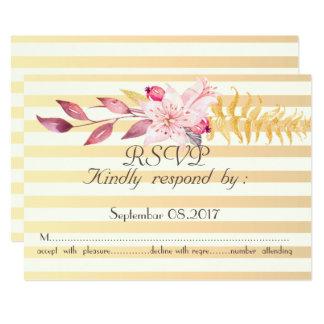Cartão Flores listradas RSVP do chique moderno