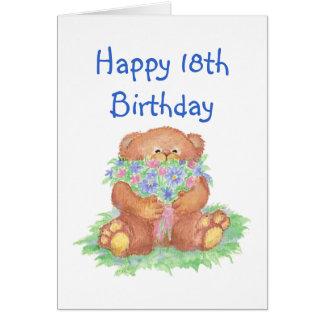 Cartão Flores para o 18o aniversário, urso de ursinho
