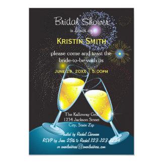Cartão Fogos-de-artifício dos vidros de Champagne - chá