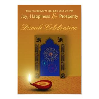 Cartão Fogos-de-artifício felizes festivos de Diwali -