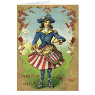 Cartão Foguete uniforme dos fogos-de-artifício da menina