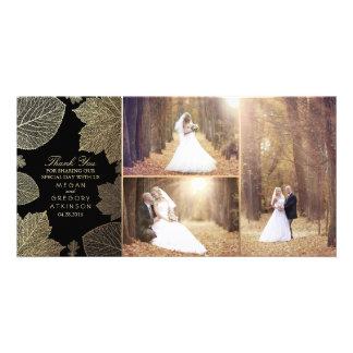 Cartão Folhas da queda do ouro que Wedding o obrigado da