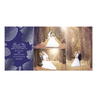 Cartão Folhas de prata da queda que Wedding o obrigado da