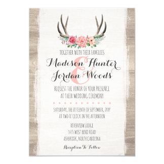 Cartão Formal personalizado dos Antlers casamento rústico
