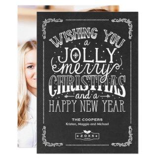 Cartão Foto alegre do Natal da tipografia do azevinho do