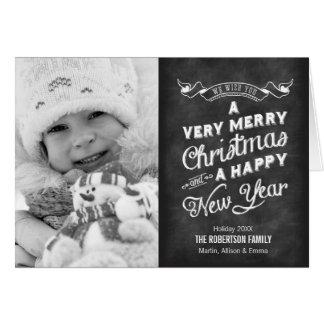 Cartão Foto do Natal da tipografia do quadro