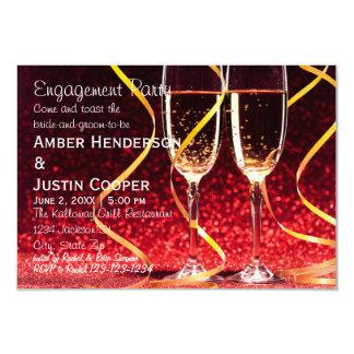 Cartão Foto dos vidros de Champagne - festa de noivado