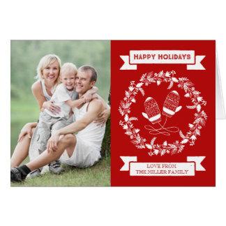 Cartão Foto floral dos mitenes da grinalda do feriado