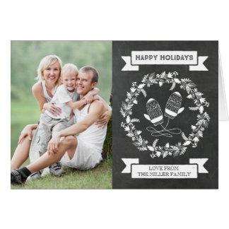 Cartão Foto floral dos mitenes da grinalda do feriado do