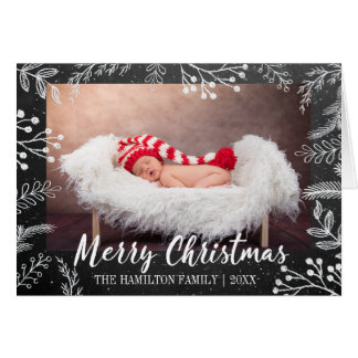 Cartão Foto nevado dos ramos do Natal do quadro
