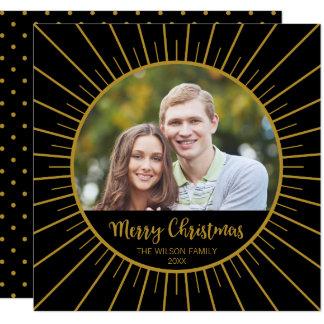 Cartão Foto preta elegante do Feliz Natal de Starburst