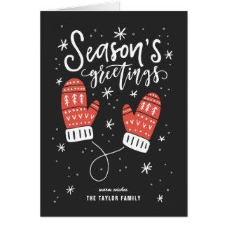 Cartão Foto vermelha do feriado dos mitenes dos