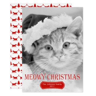 Cartão Foto vermelha do Natal do animal de estimação do