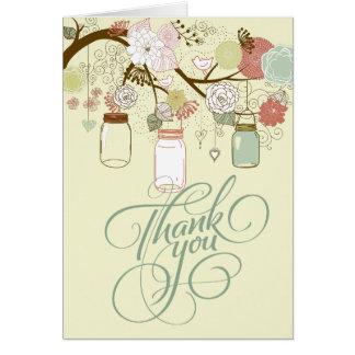 Cartão Frasco de pedreiro de suspensão & obrigado retro