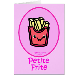 Cartão - Fritada pequena cor-de-rosa - batatas fritas