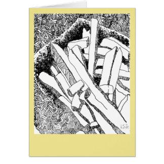 Cartão frites dos pommes com beira amarelo pálido