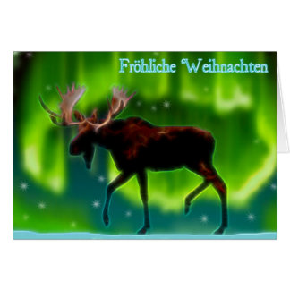 Cartão Frohliche Weihnachten - alce da aurora boreal