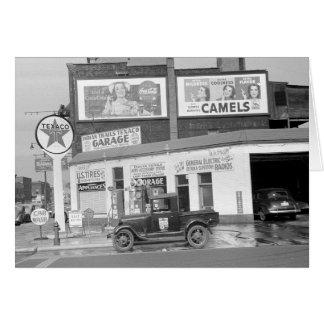 Cartão Garagem & posto de gasolina, 1940