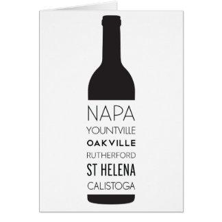 Cartão Garrafa de vinho das cidades de Napa Valley
