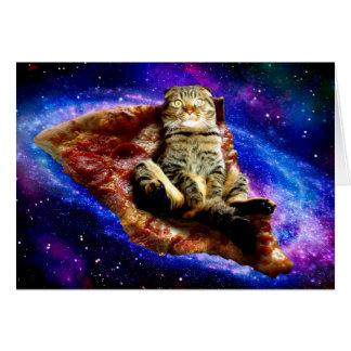 Cartão gato da pizza - gato louco - gatos no espaço