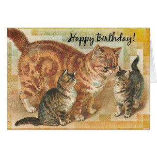 Cartão Gato de Momma do vintage e gatinhos, aniversário