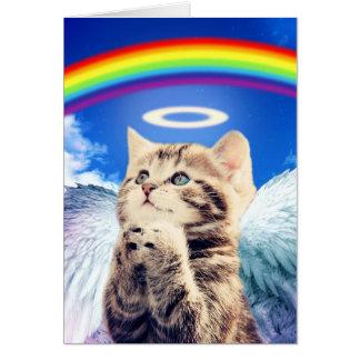 Cartão gato do arco-íris - praying do gato - gato - gatos