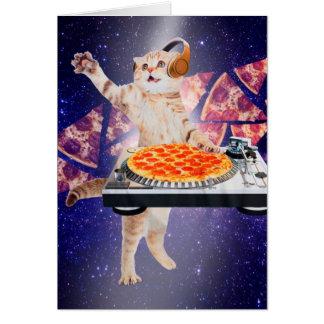 Cartão gato do DJ - gato DJ - gato do espaço - pizza do