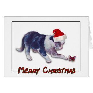 Cartão Gato do Feliz Natal