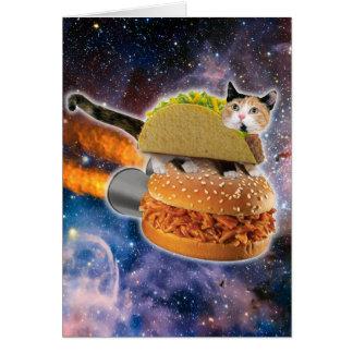 Cartão gato do taco e Hamburger do foguete no universo