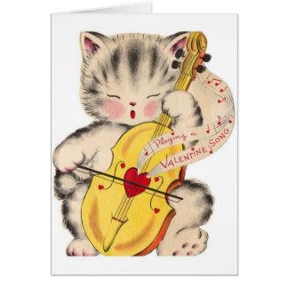 Cartão Gato do vintage e namorados do violoncelo