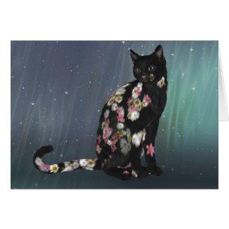 Cartão Gato preto acolhedor da margarida