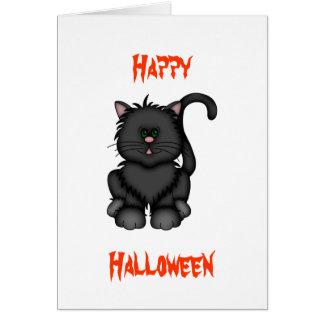 Cartão Gato preto afortunado do Dia das Bruxas