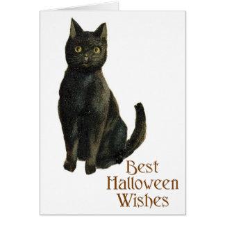 Cartão Gato preto antiquado do Dia das Bruxas