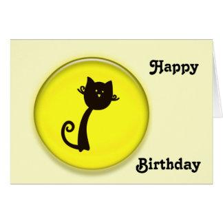 Cartão Gato preto bonito no círculo amarelo