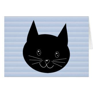 Cartão Gato preto, com fundo azul pálido da listra